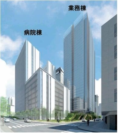 虎ノ門二丁目地区第一種市街地再開発事業 業務棟の竣工イメージ図